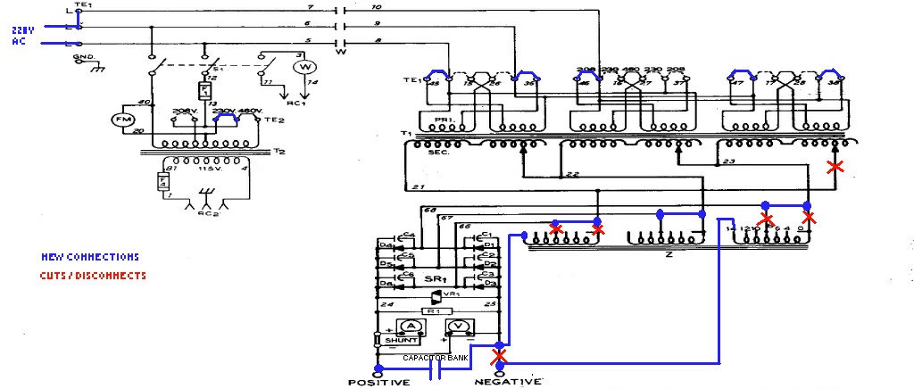 how to modify the cp 250ts for single phase and short arc welding modified schematic